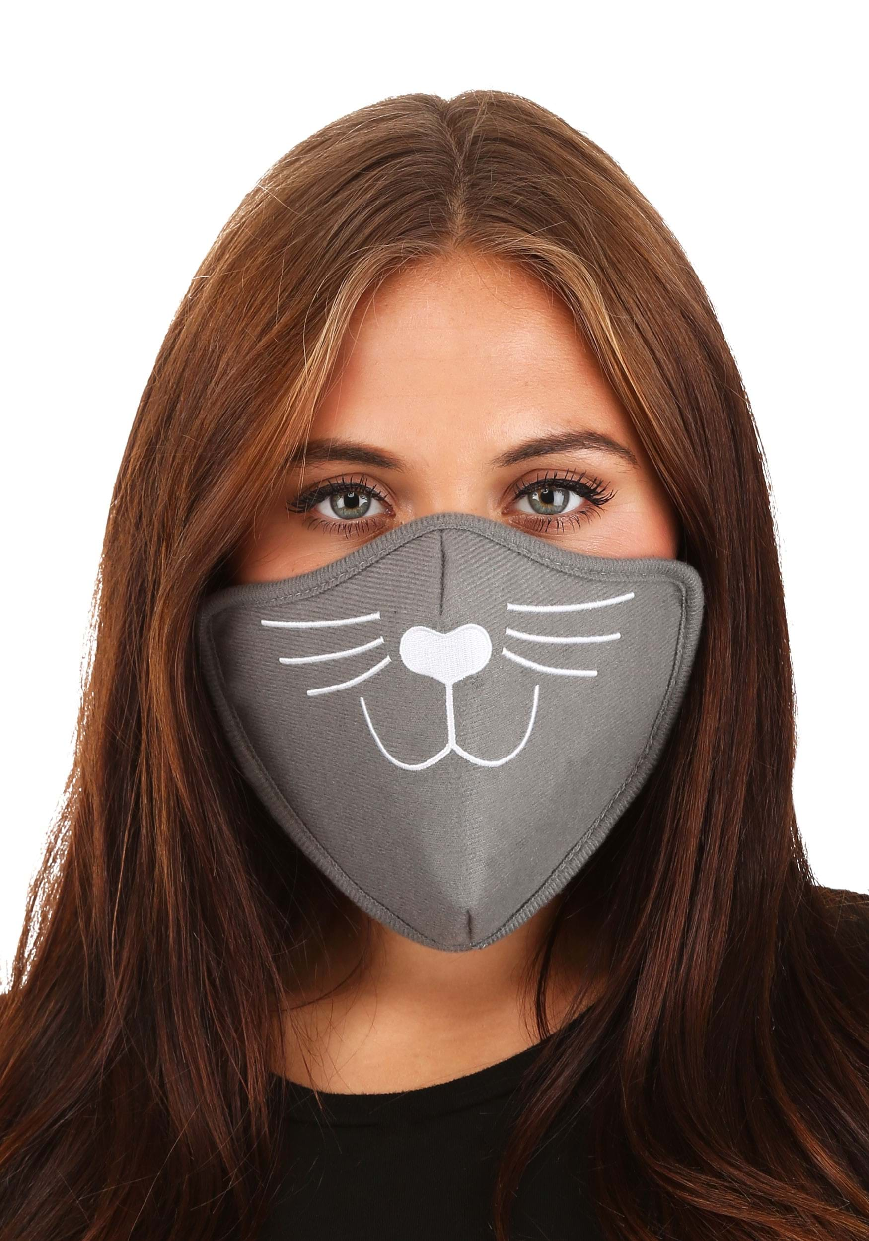 Cat Face Mask Gray for Adults