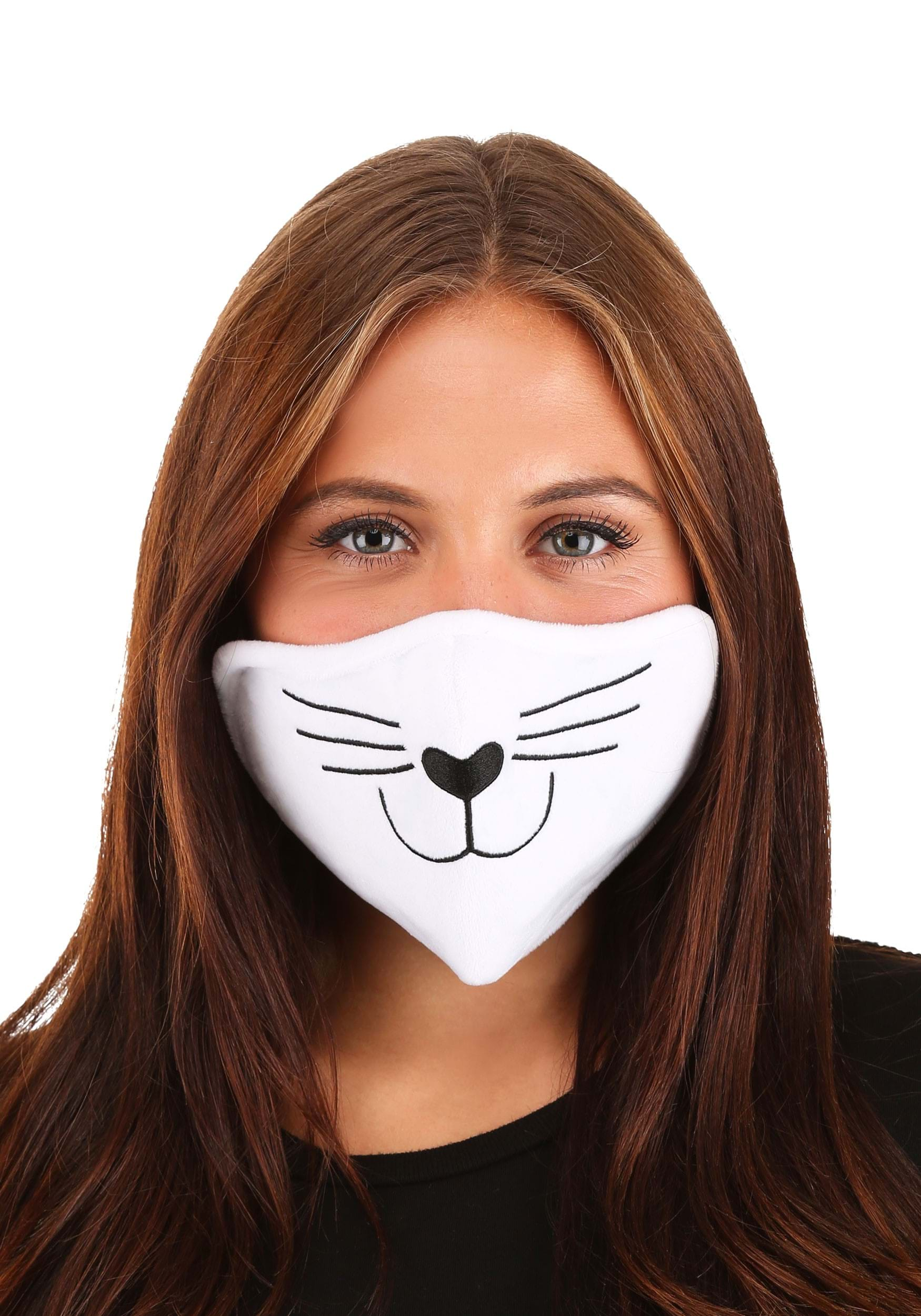 Cat Face Mask White for Adults
