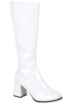 Women's Wide Calf White Disco Boots