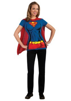 Womens Supergirl T-Shirt with Cape Costume