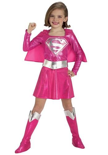 Girls Supergirl Pink Dress