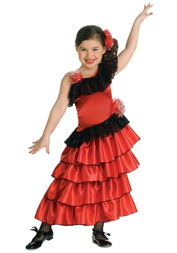 Spanish Flamenco Dancer Costume For Girls